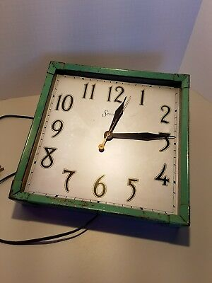Vintage Art Deco Sessions Large Electric Metal Clock Office / Store / School