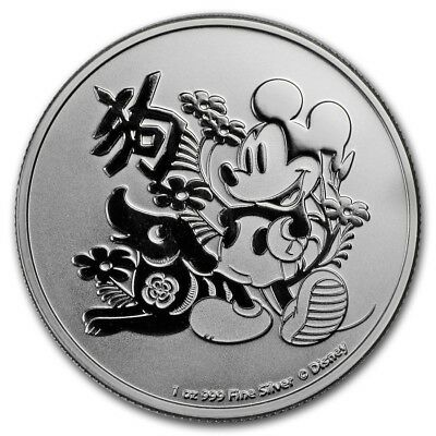 2018 Niue 1 oz .999 Silver $2 Disney Lunar Year of the Dog BU