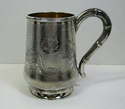 "Zee Sung Chinese Silver Mug Dragon Handled Cup Vintage Shanghai 3.75"" Tall 6.3oz"