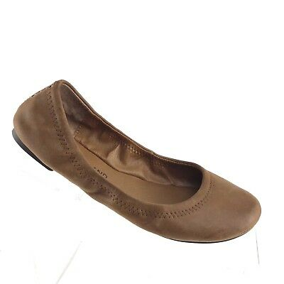 f0f292751b54 Lucky Brand Emmie Ballet Flats Brown Leather Stretch Comfort Womens Shoe  SIZE 6M