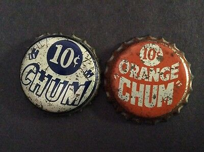 2 Different   Chum   Soda  Bottle Caps  - used   -  Cork Lined