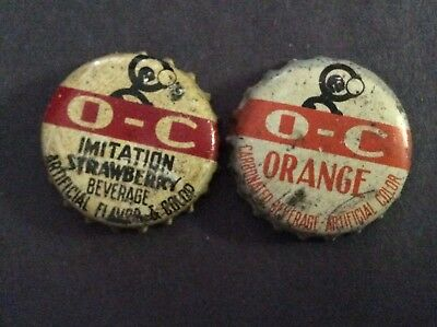 2 Different    O - C    Soda  Bottle Caps  - used   -  Cork Lined
