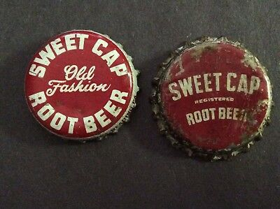 2 Different     Sweet Cap Root Beer   Soda  Bottle Caps  - used   -  Cork Lined