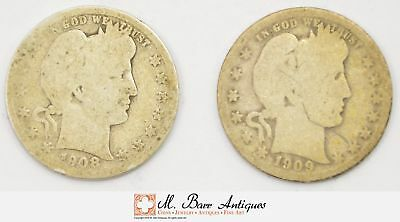 Lot of 2 Early 1892-1916 Barber Liberty Head Quarters - 90% Silver *588