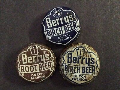 3  Different  Berry's     Soda  Bottle Caps  - used   -  Cork Lined