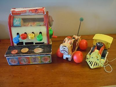 Vintage Fisher-Price Cash Register, Train, Snoopy Dog/ Parts Or Repair