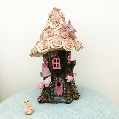 NEW Solar Fairy House Night Light, Pink Roses (Large)