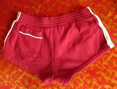 BOYS/GIRLS sz 14 true Vtg 80s Kids Classic Striped Maroon/Gray Running Shorts