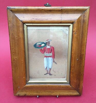 ANTIQUE 19th CENTURY INDIAN MICA PAINTING of a WAITER in MAPLE FRAME