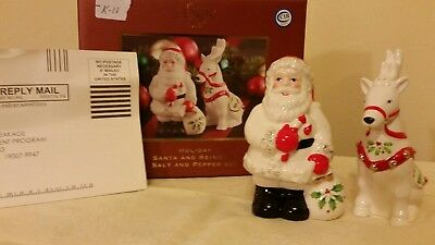 "Lenox Holiday ""Santa and Reindeer"" Salt and Pepper Shaker Set (k11)"