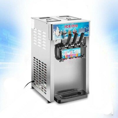 Commercial Soft Serve Ice Cream Mahcine 110V 3Flavor Frozen Yogurt Machine New