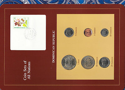 Coin Sets of All Nations Dominican w/card UNC All 1984 but 5, 25 Centavos 1987