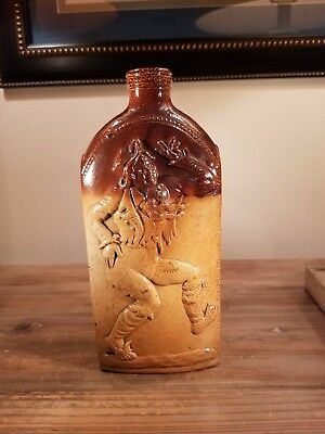 Large very striking looking 1836 Jim Crow Georgian glazed stoneware reform flask