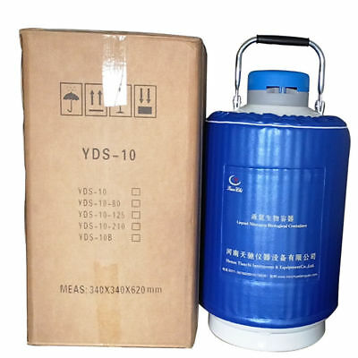 10L Liquid Nitrogen Tank Cryogenic Container  Dewar with 3 Pails + Lock Cover