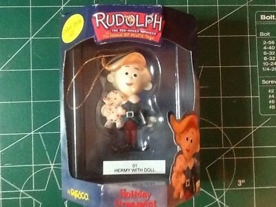 New Enesco Rudolph The Red Nosed Reindeer 01 Hermy With Doll Holiday  Ornament