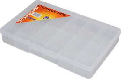 STORAGE BOX Clear Large 12 Compartment 310x200x48mm Fischer 1H-093