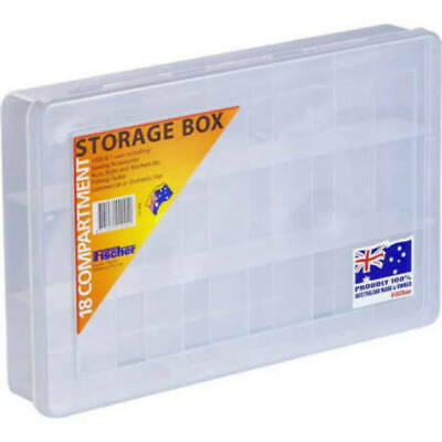 STORAGE BOX Clear Large 18 Compartment 310x200x48mm Fischer 1H-094​