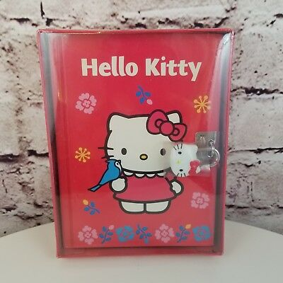 "Sanrio Hello Kitty Diary w/ Lock New 2001 Red Blue Bird 6"" x 4.5"""