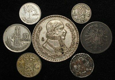 7 Silver World Coins.  1861-1964.   No Reserve!!