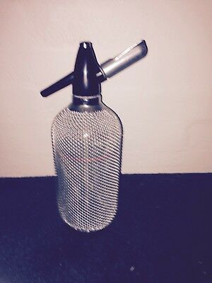 VINTAGE  RETRO SODA SYPHON  1960s GLASS WITH MESH COVER WITH BULB HOLDER & Bulbs