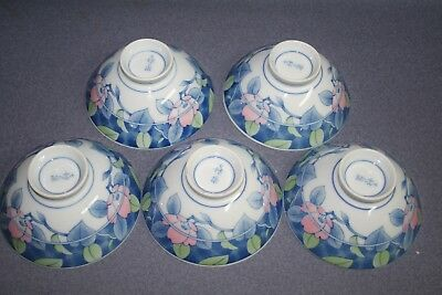 Signed  Asian Blue,Pink and White Porcelain Footed Bowls Rice Floral Flowers (5)