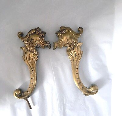 ANTIQUE Victorian era pair of BRASS LION FINIALS ARCHITECTURAL fittings mounts!!