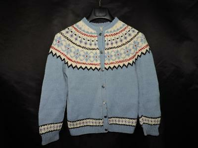 Vintage S Blue Red White Wool Fair Isle Wool Cardigan Sweater Nordic Hand Knit