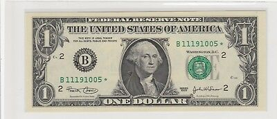 2003  $1 One Dollar Us Federal Reserve Green Seal Star Note Uncirculated 005*