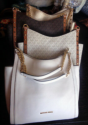e3d6ba22ae20ed Michael Kors $368 Newbury Medium Chain Shoulder Tote MK Leather or Logo