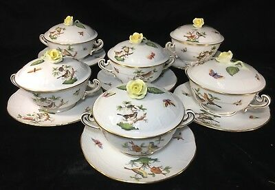 (6) Herend 'ROTHSCHILD BIRD'  3-Piece ROSE COVERED CREAM SOUP SETS #744 - MINT!