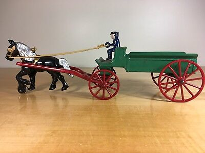 Vintage Kenton Toys Cast Iron Wagon With Horse in Excellent Shape
