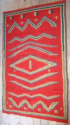 Antique Germantown Navajo Blanket Native American Weaving rug, Crosses, Combs