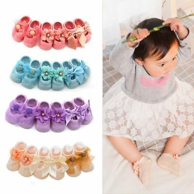 3 Pairs New Cotton Toddler Baby Socks Newborn Infant Anti Slip Lace Flower Socks