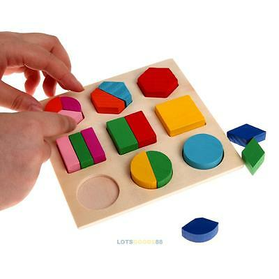 Baby Kids Children Wooden Geometry Block Puzzle Montessori Early Educational Toy