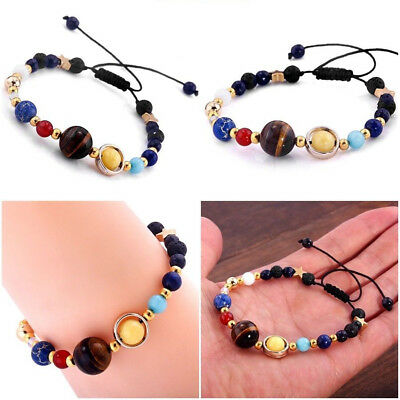 Unisex Women Men Universe Solar System Galaxy Eight Planets Stone Beads Bracelet