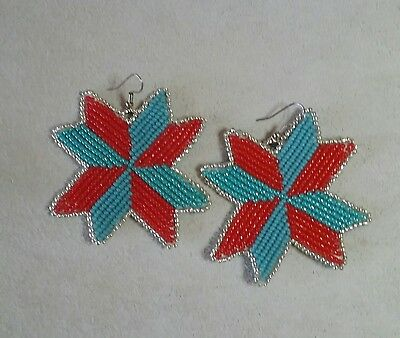 NATIVE AMERICAN BEADWORK - Star Quilt Earrings