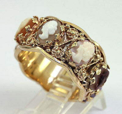 Cameo ring 14K rose yellow gold carved shell mother of pearl ornate band sz 9.25