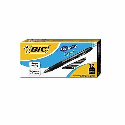 BIC Gel-ocity Retractable Gel Pen .7mm Medium Black Comfort Smooth Writing 12pk