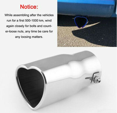 63mm Straight Stainless Steel Heart Car Tail Exhaust Pipe Muffler Tip Silencer