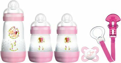 MAM Welcome to The World Set includes Bottles, Soother and Clip Pink