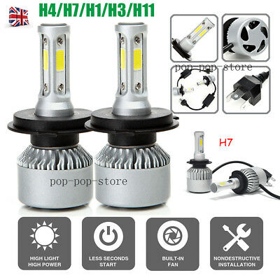 UK H7 H4 H1 H3 H11 H8 H9 200W 20000LM LED Headlight High Car Hi/Lo Beam Bulbs