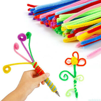 100pcs Chenille Craft Stems Pipe Cleaners 30cm Lots of Colours For Kids Children