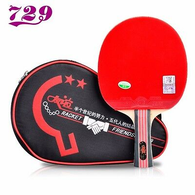 Friendship/729 Table Tennis Racket with Rubber + Bag Set Pips-in Ping Pong Bat