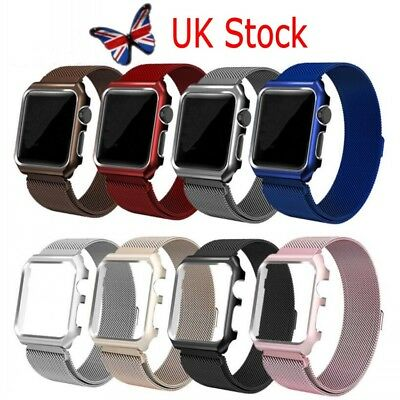 UK Metal Magnetic Stainless Steel Wrist Band Strap For Apple Watch iWatch +Frame