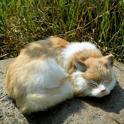Realistic Cat Lifelike Plush Rabbit Fur Furry Animal Sleeping Synthetic Figurine