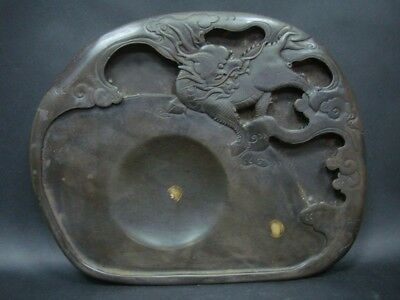 Excellent Old Chinese Heavy InkStone Hand Carving Kylin Ink Slab Marks