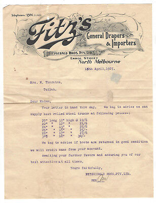 OLD Letter/invoice 1925  North Melb. to Tullah Tas. Fitz's General Drapers