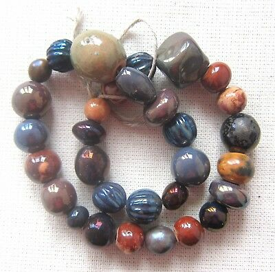 Round Ceramic Porcelain Beads 31 pieces hand made 70's vintage rustic clay brown