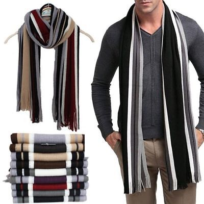 Winter Men's Classic Warm Cashmere Shawl Fringe Stripe Tassel Long Soft Scarf