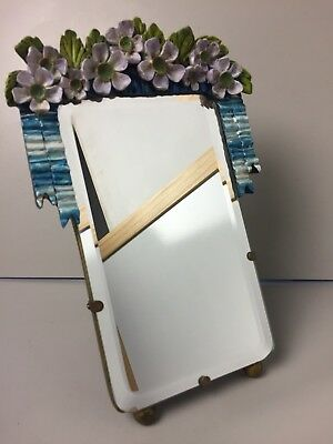 Vintage Barbola Floral Gesso Decorated Vanity Dressing Mirror Rectangle Bevelled
